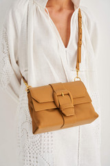 Oroton Frida Soft Medium Satchel in Maple and Small Pebble Leather for female