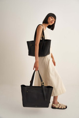 Oroton Ingrid XL Tote in Black and Pebble Leather for female