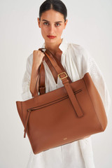 Oroton Ingrid XL Tote in Brandy and Smooth Leather for female