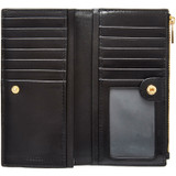 Oroton Muse Slim Zip Wallet in Black and Two Tone Saffiano/Split Leather for female