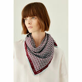 Oroton All Over Logo Scarf in Burgundy/Blue and 100% Silk for female
