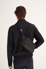 Oroton Larsen Waist Bag in Black and Coated Canvas for male
