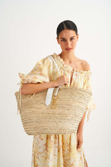 Oroton Madison Large Tote in White/Natural and Smooth Leather and Woven Straw for female