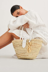 Oroton Madison Small Tote in White/Natural and Smooth Leather and Woven Straw for female
