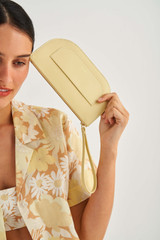 Oroton Lotte Medium Zip Pouch in Butter and Smooth Leather for female