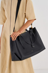 Oroton Margot Baby Bag And Mat in Black and Pebble Leather for female