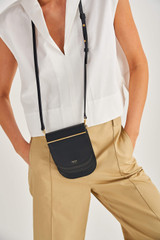 Oroton Lotte Crossbody in Black and Smooth Leather for female