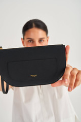 Oroton Lotte Medium Zip Pouch in Black and Smooth Leather for female