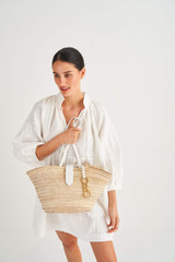 Oroton Madison Medium Tote in White/Natural and Smooth Leather and Woven Straw for female