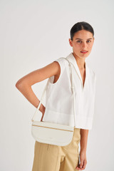 Oroton Lotte Baguette in Pure White and Smooth Leather for female