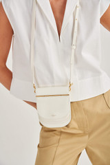 Oroton Lotte Crossbody in Pure White and Smooth Leather for female
