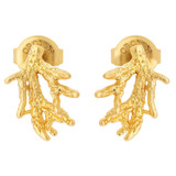 Oroton Ocean Coral Climber Studs in Worn Gold and Brass Base Metal with Precious Metal Plating for female