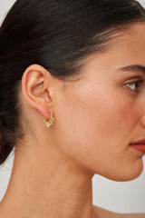 Oroton Ocean Shell Hoops in Worn Gold and Brass Base Metal with Precious Metal Plating for female
