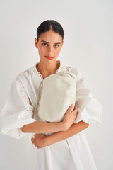 Oroton Nilson Hobo in Clotted Cream and Smooth Leather for female