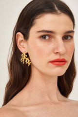 Oroton Ocean Coral Earrings in Worn Gold/Clear and Brass Base Metal with Precious Metal Plating for female