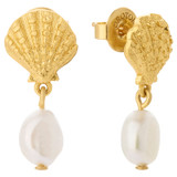 Oroton Ocean Shell Drop Earrings in Worn Gold/Pearl and Brass Base Metal with Precious Metal Plating and Fresh Water Pearl for female