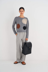 Oroton Margot Large Backpack in Black and Pebble Leather for female