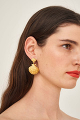 Oroton Ocean Shell Earrings in Worn Gold and Brass Base Metal with Precious Metal Plating for female