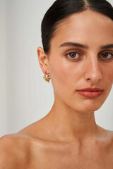 Oroton Ocean Coral Hoops in Worn Gold and Brass Base Metal with Precious Metal Plating for female