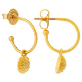Oroton Ocean Limpet Charm Hoops in Worn Gold and Brass Base Metal with Precious Metal Plating for female