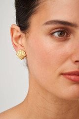 Oroton Ocean Shell Clip-On Earrings in Worn Gold and Brass Base Metal with Precious Metal Plating for female