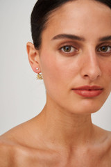 Oroton Ocean Coral Studs in Worn Gold/Clear and Brass Base Metal with Precious Metal Plating and Glass Stone for female