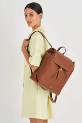 Oroton Margot Large Backpack in Whiskey and Pebble Leather for female