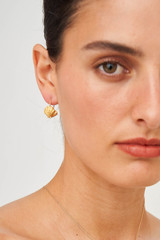 Oroton Ocean Shell Hanging Hoops in Worn Gold and Brass Base Metal with Precious Metal Plating for female
