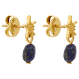Oroton Ocean Starfish Drop Earrings in Worn Gold/Lapis and Brass Base Metal with Precious Metal Plating and Lapis Stone for female