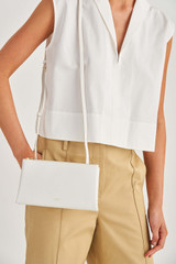 Oroton Wilde Double Zip Crossbody in Pure White and Smooth Leather for female