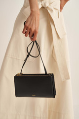 Oroton Wilde Double Zip Crossbody in Black and Smooth Leather for female