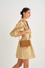 Oroton Wilde Small Day Bag in Dark Rye and Smooth Leather for female