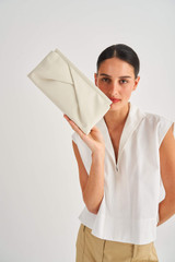Oroton Quinn Clutch in Clotted Cream and Smooth Leather for female