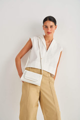 Oroton Wilde Small Day Bag in Pure White and Smooth Leather for female