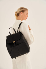 Oroton Dylan Large Backpack in Black and Pebble Leather for female