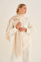 Oroton Dylan Wrap Scarf in Milk and 53% Tencel 42% Modal 5% Silk for female