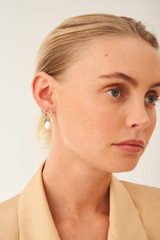 Oroton Violet Pearl Earrings in Gold/White and Brass Base Metal With Orgnic Pearl Shaping for female
