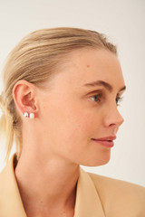 Oroton Violet Pearl Stud Set in Silver/White and Brass Base Metal With Orgnic Pearl Shaping for female