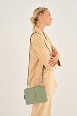 Oroton Lilly Double Zip Crossbody in Shale Grey and Pebble Leather for female