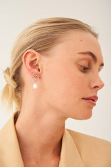 Oroton Violet Pearl Earrings in Silver/White and Brass Base Metal With Orgnic Pearl Shaping for female