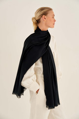 Oroton Dylan Wrap Scarf in Black and 53% Tencel 42% Modal 5% Silk for female
