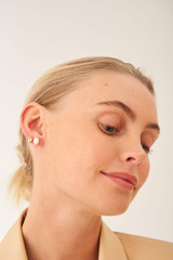 Oroton Violet Pearl Stud Set in Gold/White and Brass Base Metal With Orgnic Pearl Shaping for female