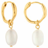 Oroton Violet Pearl Huggies in Gold/White and Brass Base Metal With Orgnic Pearl Shaping for female