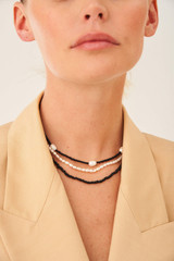 Oroton Caprice Triple Necklace Set in Gold/Black/White and Brass Base Metal With Irregular Pearl & Glass Bead for female