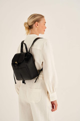 Oroton Dylan Medium Backpack in Black and Pebble Leather for female