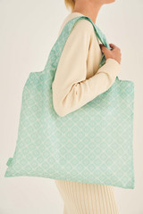 Oroton Elsie Packable Tote in Watercress/Cream and Printed Nylon for female