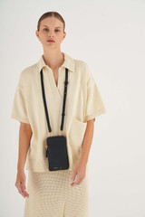 Oroton Lilly Phone Crossbody in Black and Pebble Leather for female