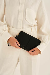 Oroton Lilly Medium Zip Pouch in Black and Pebble Leather for female