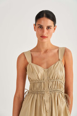 Oroton Multi Stitched Dress in Wheat and 100% Cotton for female