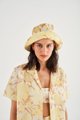 Oroton Cole Floral Bucket Hat in Sugarcane and 100% Linen for female